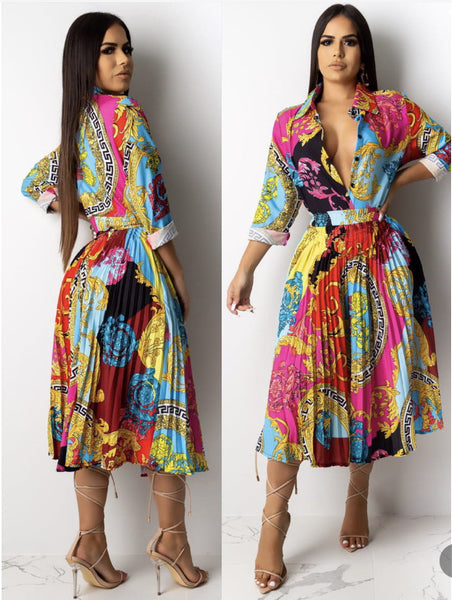 Autumn and winter 2020 new women's cross border new fashion printed single breasted Lapel pleated dress shirt skirt