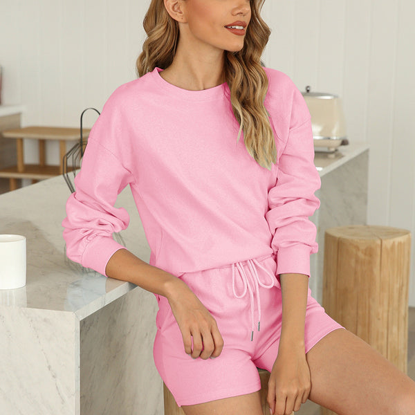 Amazon Spring/Summer 2021 Europe and the United States new women's comfortable pajamas two-piece set cotton home clothes have pockets
