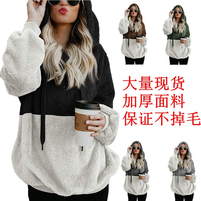 Amazon's popular 2020 winter European and American women's zipper hooded Plush color matching pocket coat