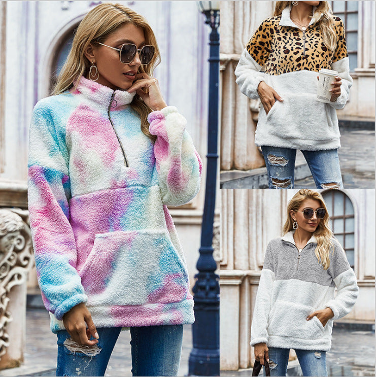 Amazon explosions 2020 autumn and winter new women's leopard stitching pullover tie-dyed fleece sweater loose coat