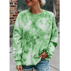 Amazon EBA women's new tie dyed loose round neck long sleeves