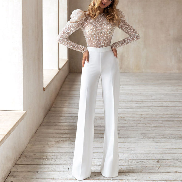 2020 autumn and winter foreign trade fashion new women's independent station round neck sexy long-sleeved trousers halter jumpsuit