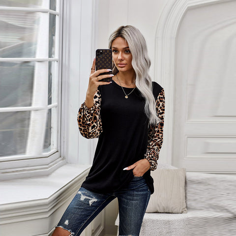 Autumn and winter new Leopard Print Long Sleeve Top Women's European and American round neck T-shirt women's wear