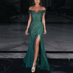 2020 cross border autumn new European and American women's independent station sexy one shoulder split evening dress with long skirt
