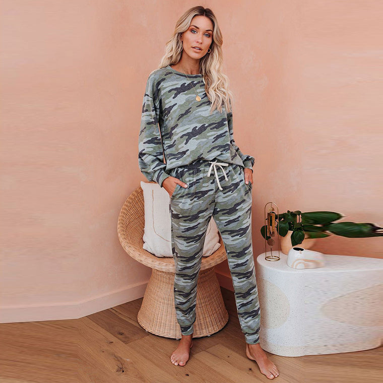 Autumn and winter new camouflage green home clothing set female European and American loose-fitting long-sleeved long pants pajamas