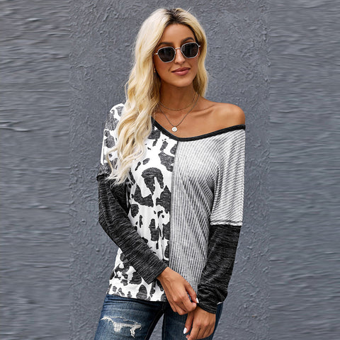 Stylish women's top women's autumn 2021 new sexy deep V long-sleeved shirt
