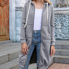 Loose cardigan hooded medium length coat