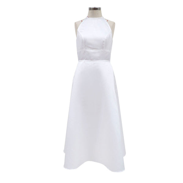 2020 Europe and the United States foreign trade new women's ebay Dunhuang sleeveless hanging neck waist dress solid color back mid-length skirt
