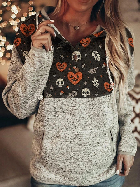 Cross-border Europe and the United States new 2020 autumn and winter women's long-sleeve print Halloween casual hooded jacket