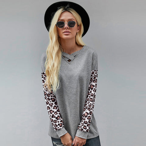New leopard pattern stitching long sleeve T-shirt for women in autumn and winter