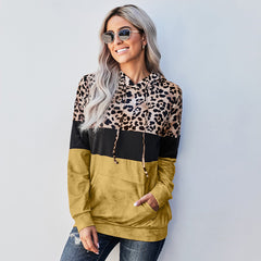 New mosaic leopard hooded sweater women