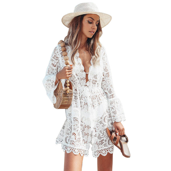 2019 European and American foreign trade new women's dress wish Amazon Sexy Lace Long Sleeve V-neck dress