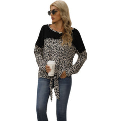 Real shooting new autumn women's clothing in Europe and America Amazon independent station leopard print color matching hem knotted top