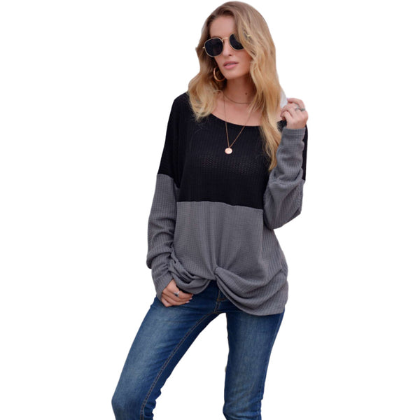 2020 New Women's Amazon Independent Station Waffle Stitched Knotted T-Shirt Top