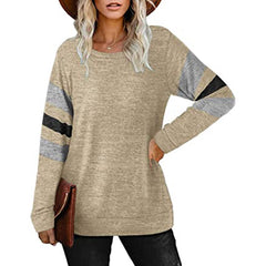 Long sleeve round neck T shirt loose top
