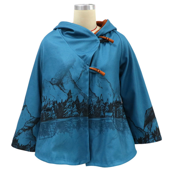 2020 Europe and America autumn and winter foreign trade women's clothing eBay Amazon new long sleeve Hooded Coat printed woolen coat