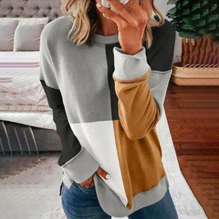 Trend autumn and winter new women's hot explosions casual round neck multicolor color matching sweater