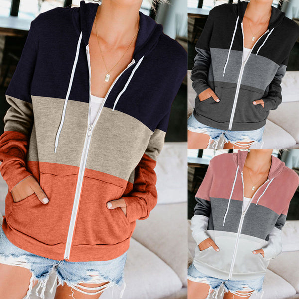 Amazon's popular autumn and winter 2020 new European and American long sleeve color contrast hooded sweater women's zipper pocket cardigan coat