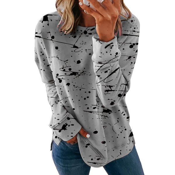 New foreign trade women's wear in Europe and America in autumn and winter of 2020 hot cross border graffiti print round neck loose T-shirt