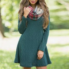 New European and American foreign trade sweaters in autumn and winter of 2020 women's Amazon cross border new loose knitted woolen dress
