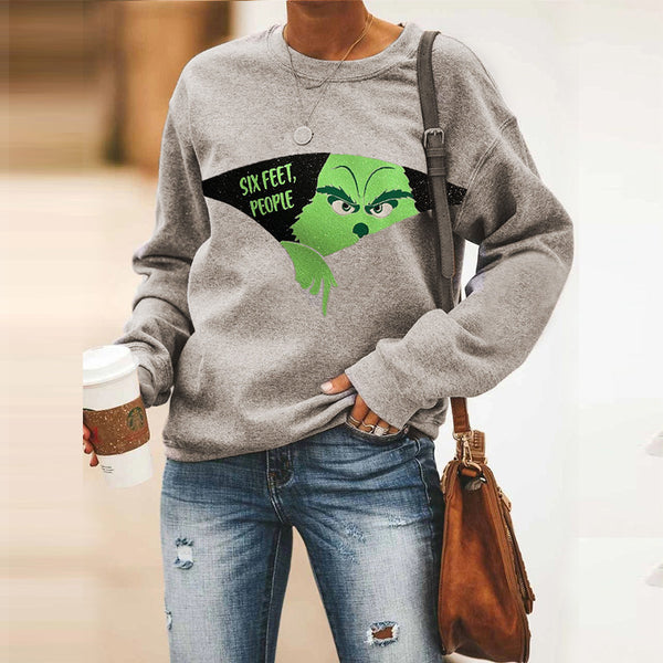 2020 Amazon wish European and American foreign trade autumn and winter new women's stitching printing casual loose sweater