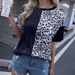 Leopard stitched crew neck short sleeve T-shirt