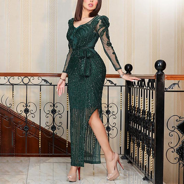 2020 European and American foreign trade fashion new women's dress wish Amazon Sajin long sleeve Sexy Dress NEW
