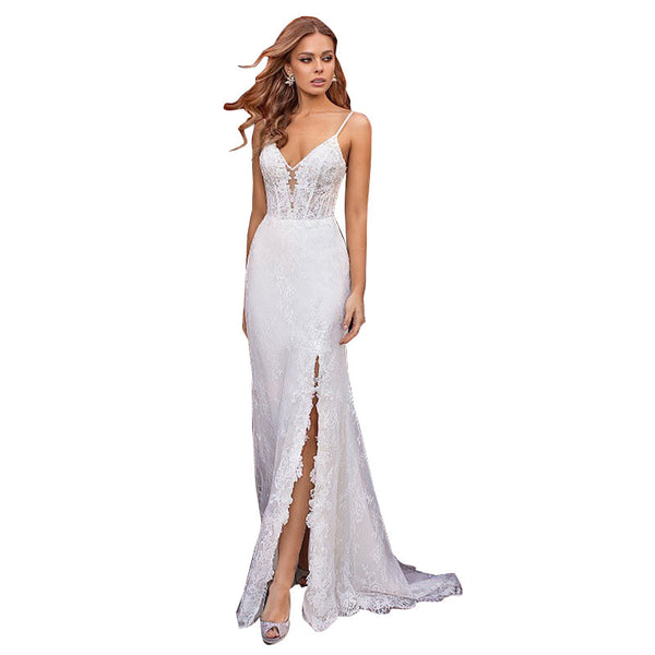 2020 new deep V slim European and American custom double shoulder lace slim simple tailed court long evening dress