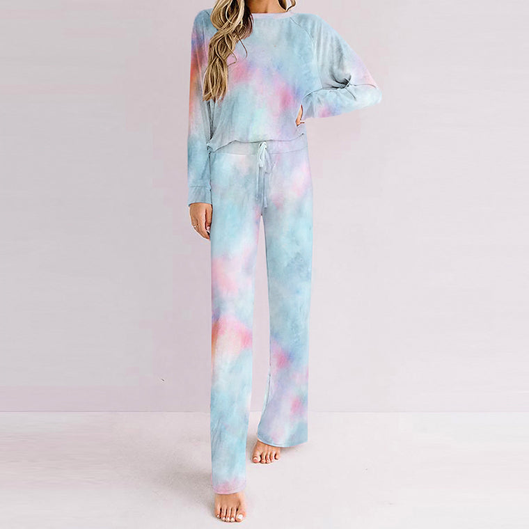 Autumn and winter new tie dyed home suit women's large slim round neck long sleeve trousers pajamas