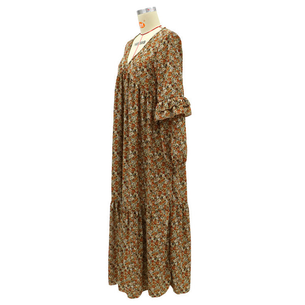 Autumn and winter 2020 Cross Border Long Sleeve temperament commuting Brown cardigan high waist fashion long skirt medium length Printed Dress