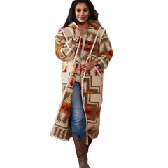 Amazon new splicing long sleeve Hooded Coat printed woolen coat