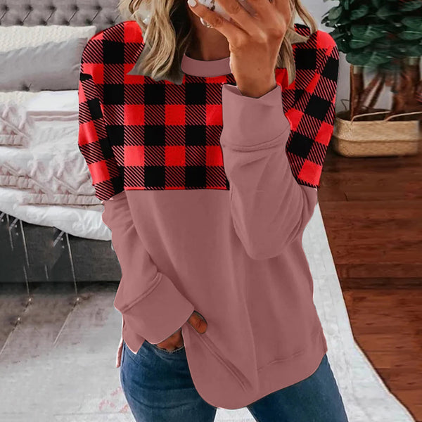 Explosions round neck long sleeve stitching printed plaid T-shirt now