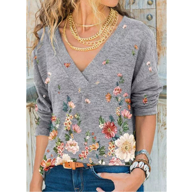 2021 trend new spring and autumn women's cross-border Amazon WISH hot explosions V-neck long sleeve pullover printed T-shirt
