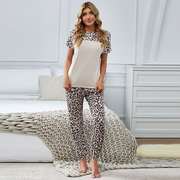 Summer leopard print fashion housewear women's short sleeve trousers pajamas suit