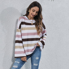 Round neck stripe multicolor digital printing casual T-shirt long sleeve