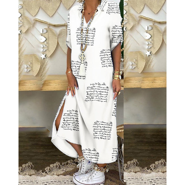 Hot new loose-print national wind sleeves in the sleeve jumpsuit long skirt
