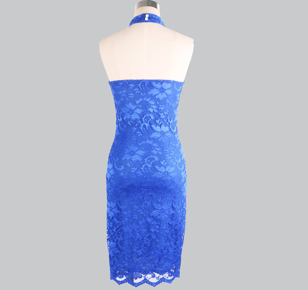 European and American autumn and winter foreign trade new dress eBay express sexy lace hanging neck open back dress skirt