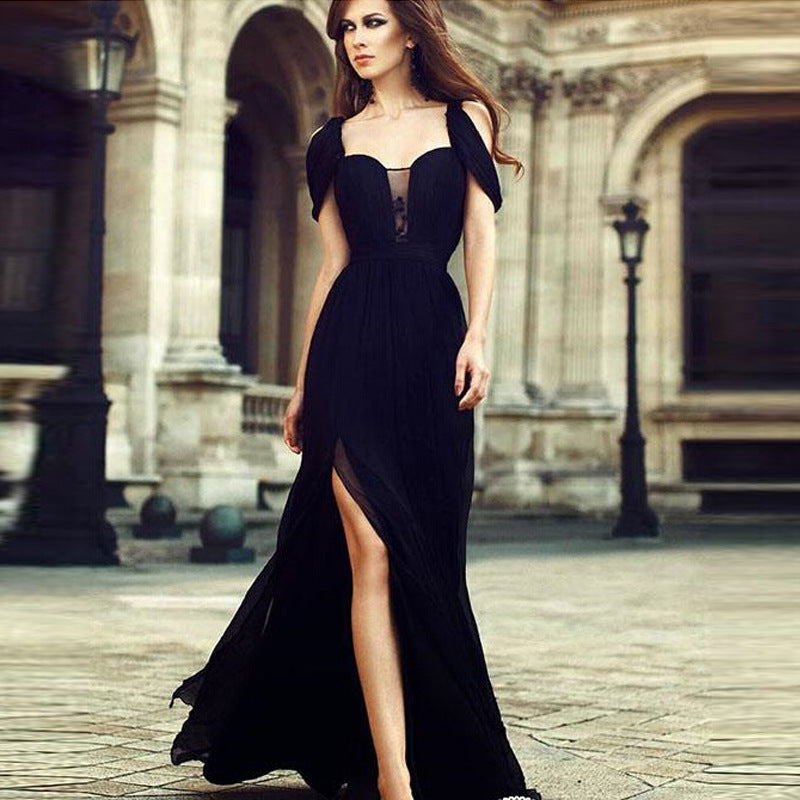 European and American autumn and winter foreign trade new dress wish Amazon ebay chiffon evening dress dress