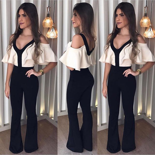 Europe and the United States autumn and winter foreign trade new jumpsuit ebay Amazonwish sexy V-neck thin waist jumpsuit