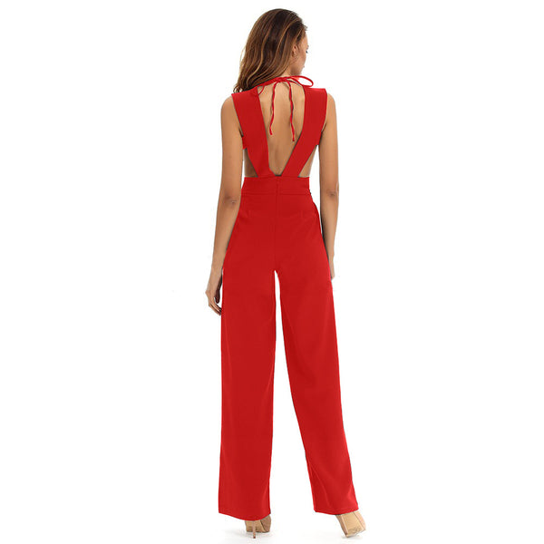 New foreign trade Jumpsuit for Europe and America in spring and summer of 2018 eBay Amazon sexy deep V-neck Jumpsuit
