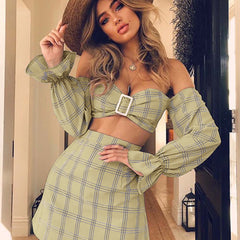 2020 European and American Amazon spring and summer women's trumpet sleeve tube top two-piece cross-border explosion plaid dress
