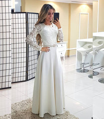 2018 European and American foreign trade new dress wish Amazon Round Neck Lace Long Sleeve Dress long skirt