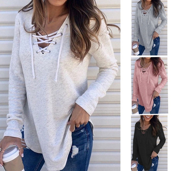 Solid V-neck tie loose top T-shirt