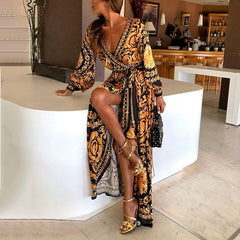 2018 European and American foreign trade dress wish Amazon sexy deep V split dress print dress