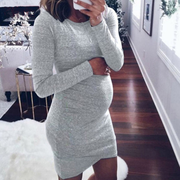 Solid color round neck long sleeve maternity dress dress
