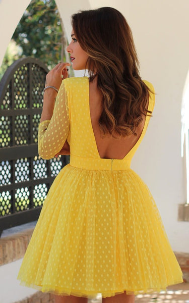 2018 Europe and America New eBay long sleeve Polka Dot Dress Sexy Lace open back short dress