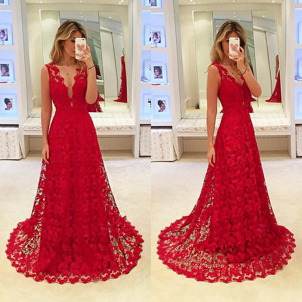 2018 European and American foreign trade new women's dress wish lace hollow dress sexy V-neck dress