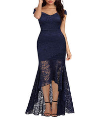 Cross border New Amazon fall and winter new one shoulder lace long bag hip hem swallow tail sexy dress