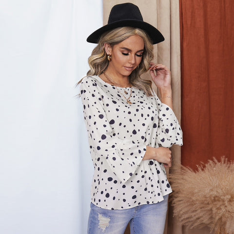 European and American polka dot printing loose Pullover chiffon shirt women's casual top