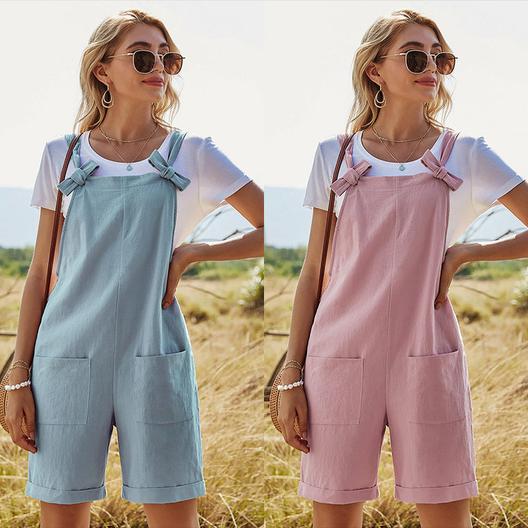 Solid straight loose high waist pocket Jumpsuit